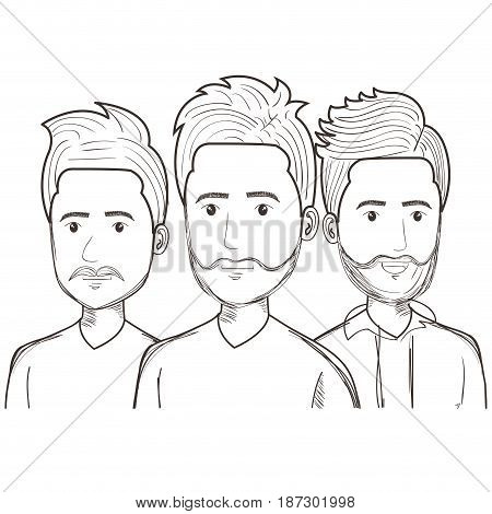 Hand drawn uncolored men over white background. Vector illustration.