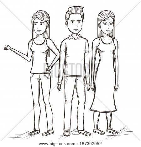 Hand drawn uncolored standing man and women over white background. Vector illustration.