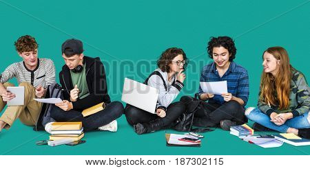 Diverse Students Doing Homework Together Studio Portrait
