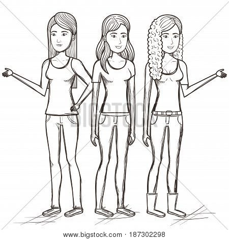 Hand drawn uncolored standing women over white background. Vector illustration.