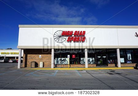 BAY VIEW, MICHIGAN / UNITED STATES - NOVEMBER 26, 2016: One may purchase bicycles and other sporting goods at High Gear Sports, in a Bay View strip mall.