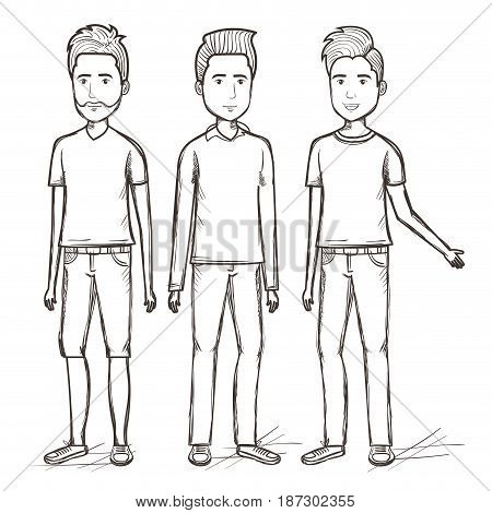 Hand drawn uncolored standing men over white background. Vector illustration.