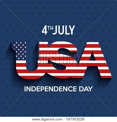 USA and 4th july sign with american flag over blue starry background. Vector illustration.