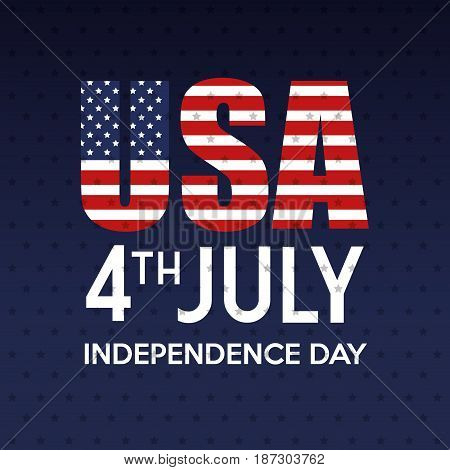 USA and 4th july sign with flag over blue starry background.  Vector illustration.