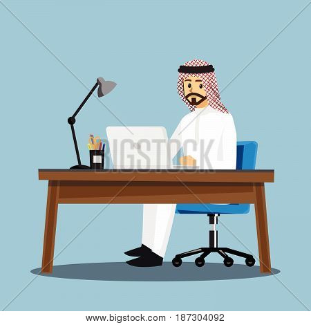 Arabian businessmen People DeskVector illustration cartoon character