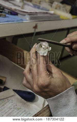 silver Ring making by artisan in her workshop