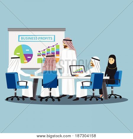 Business People Having Board MeetingVector illustration cartoon character