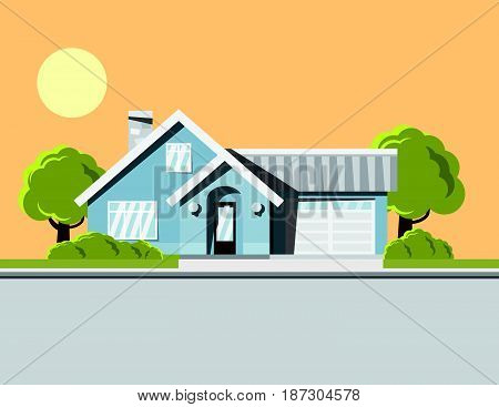 Background image of dream house Single storey house