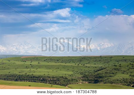 Beautiful landscape of nature in the Tien Shan mountains .