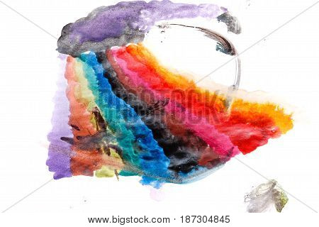 Multicolored color transitions with watercolor paints. Abstract rainbow.