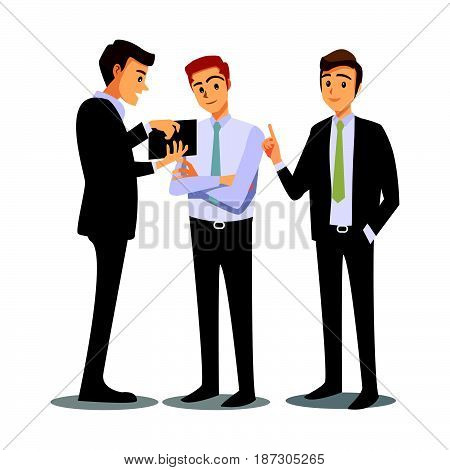 businessmen consulting work business  cartoon character job