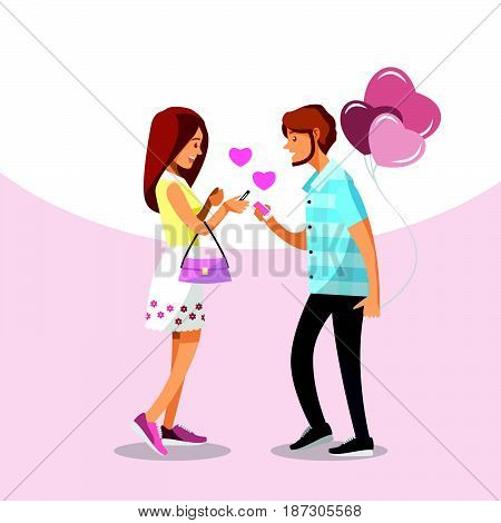 Cartoon character couple in love write chat with phones