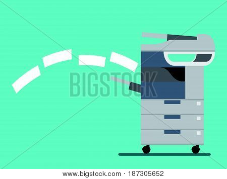 working copier printer and scanner, Vector illustration