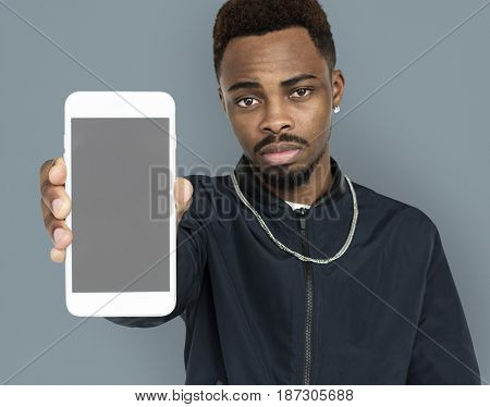 African Descent Man Holding Phone
