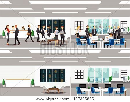 office with workstation meeting room receptions lobby include business and people working activity Vector illustration