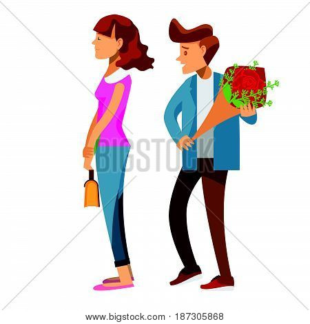 cartoon characterCouple of lovers on a date young man back who is holding red rose