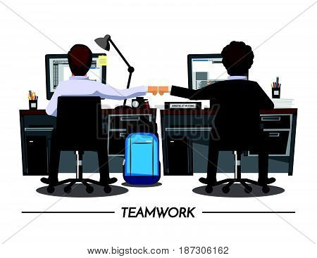 Fist Bump Colleagues Collaboration Teamwork Concept Vector illustration cartoon