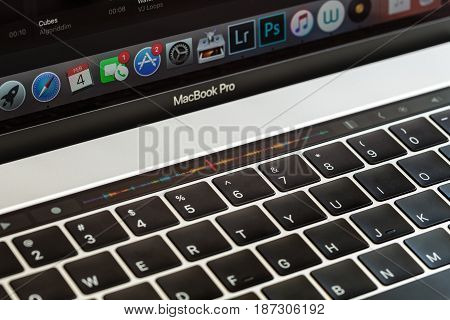 Bangkok Thailand - April 2 2017: Close-up touch bar on macbook pro 2016 touch bar is new function on macbook pro 2016 by apple Inc.