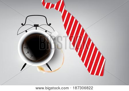 Coffee Time and Relaxation Concept : White coffee cup and coffee stain with red necktie on white background. (3D Illustration)
