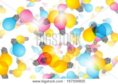 Business Creative and Idea Concept : Colorful light bulb with white background.