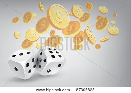 Two dices with golden coin background. (3D Illustration)