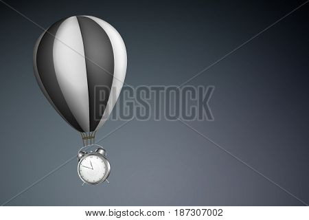 Waste of Time Concept : Alarm clock hanging on black hot air balloon with gray background. (3D Illustration)