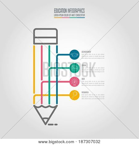 Education Infographics Template 4 Step Option. Timeline Infographic Design Vector.