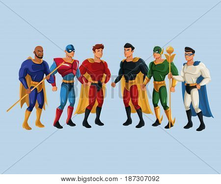 team superhero strong male group power vector illustration