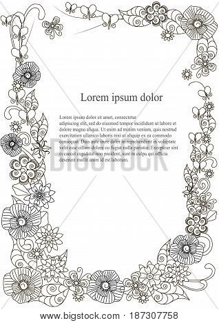 Flowers doodle hand drawn monochrome frame A4 stock vector illustration