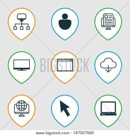 Set Of 9 Internet Icons. Includes Blog Page, Program, Display And Other Symbols. Beautiful Design Elements.
