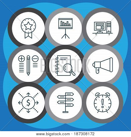 Set Of 9 Project Management Icons. Includes Decision Making, Time Management, Analysis And Other Symbols. Beautiful Design Elements.