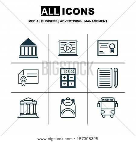 Set Of 9 School Icons. Includes Electronic Tool, Haversack, Home Work And Other Symbols. Beautiful Design Elements.