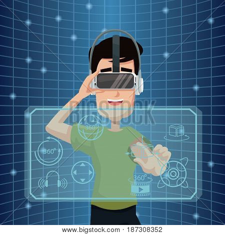virtual reality wearing goggle three dimensional cyberspace vector illustration