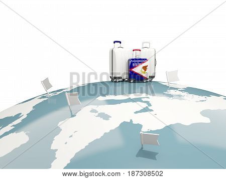 Luggage With Flag Of American Samoa. Three Bags On Top Of Globe