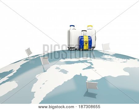 Luggage With Flag Of Barbados. Three Bags On Top Of Globe