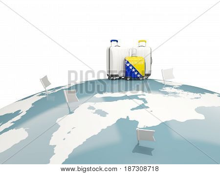 Luggage With Flag Of Bosnia And Herzegovina. Three Bags On Top Of Globe