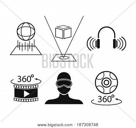 set virtual reality game digital tech vector illustration
