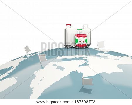 Luggage With Flag Of Burundi. Three Bags On Top Of Globe