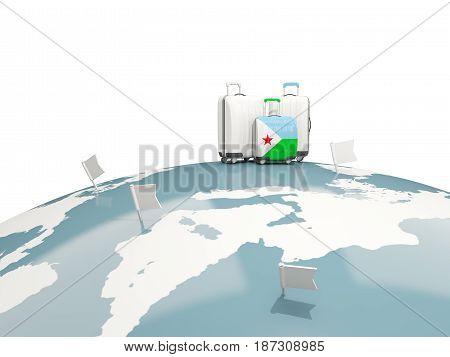 Luggage With Flag Of Djibouti. Three Bags On Top Of Globe