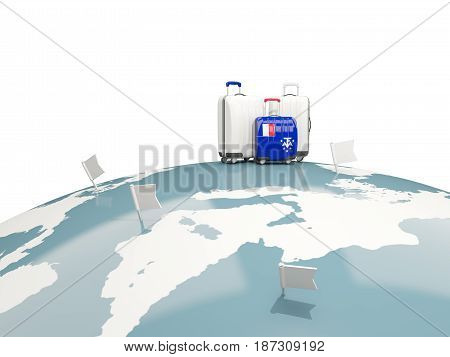 Luggage With Flag Of French Southern Territories. Three Bags On Top Of Globe