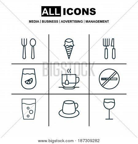 Set Of 9 Restaurant Icons. Includes Dessert, Hot Drink, Lemonade And Other Symbols. Beautiful Design Elements.