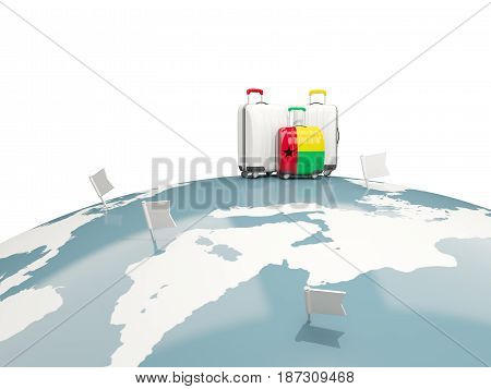 Luggage With Flag Of Guinea Bissau. Three Bags On Top Of Globe