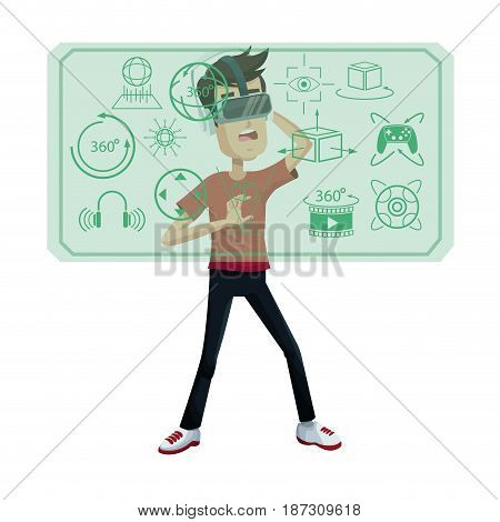 young man virtual reality wearing headset simulation equipment vector illustration
