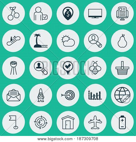 Set Of 25 Universal Editable Icons. Can Be Used For Web, Mobile And App Design. Includes Elements Such As Ensign, Bumblebee, Checked Pointer And More.