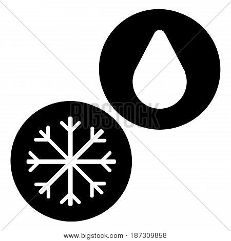 Snowflake and drop vector icon. Black and white snow and rain illustration. Solid linear icon. eps 10