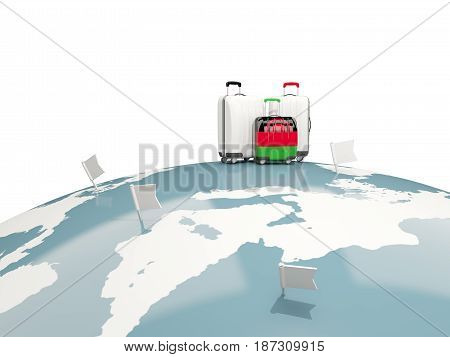 Luggage With Flag Of Malawi. Three Bags On Top Of Globe