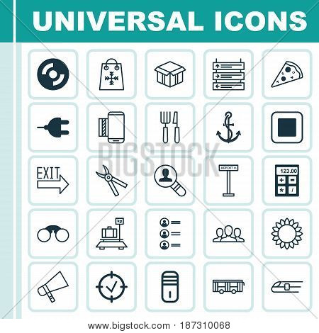 Set Of 25 Universal Editable Icons. Can Be Used For Web, Mobile And App Design. Includes Elements Such As Fork Knife, Electronic Tool, Sliced Pizza And More.