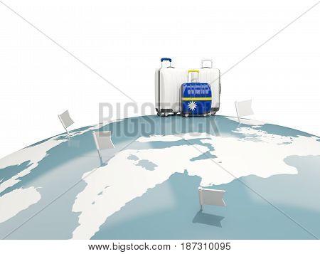 Luggage With Flag Of Nauru. Three Bags On Top Of Globe