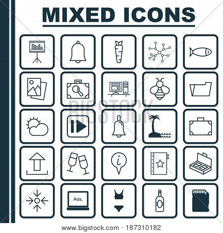 Set Of 25 Universal Editable Icons. Can Be Used For Web, Mobile And App Design. Includes Elements Such As Clear Climate, Portfolio, Following Music And More.
