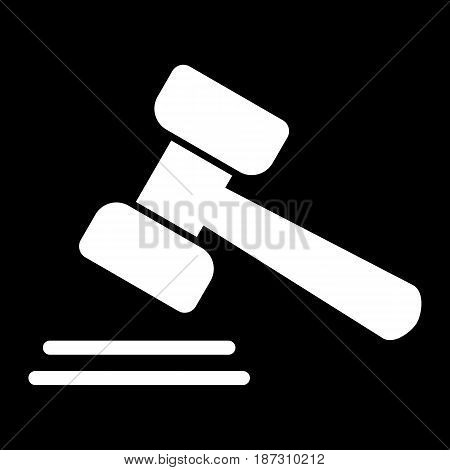 Auction vector icon. Black and white hammer illustration. Solid linear icon. eps 10